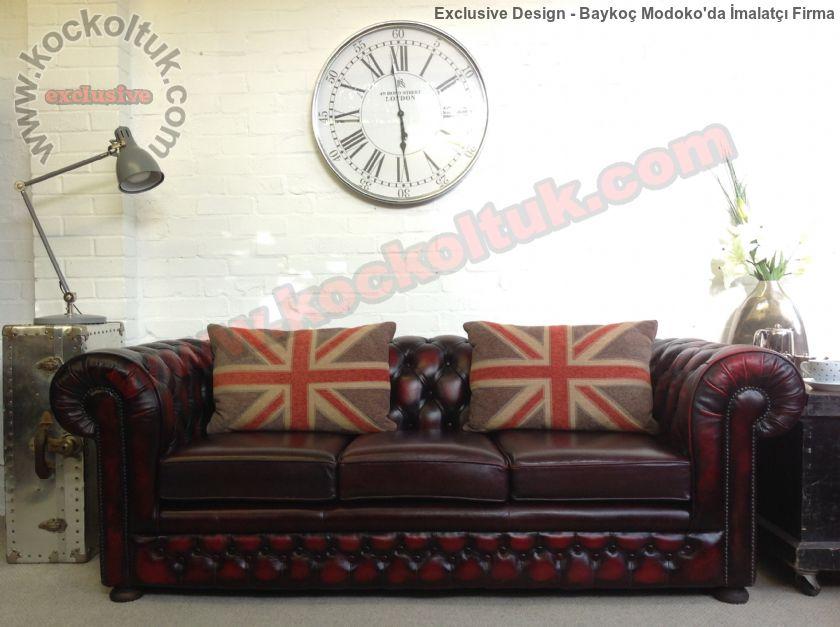 İngiliz Tarzı Klasik Chester Koltuk Modeli Üçlü Deri Kanepe
