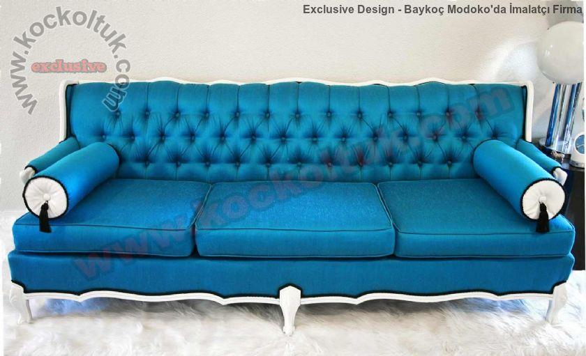 Mavi Tasarım Kapitoneli Koltuk Dekoratif Modeller