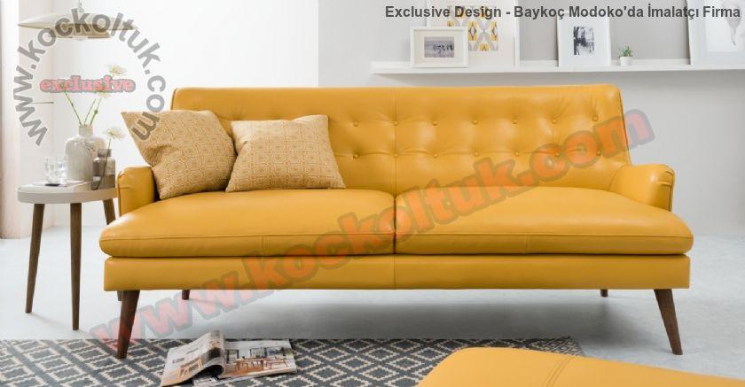 Sarı Deri Özel Tasarım Kapitoneli Dekoratif Kanepe