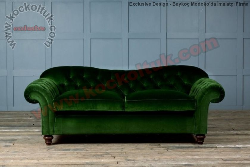 Yeşil Kadife Dekoratif Kanepe