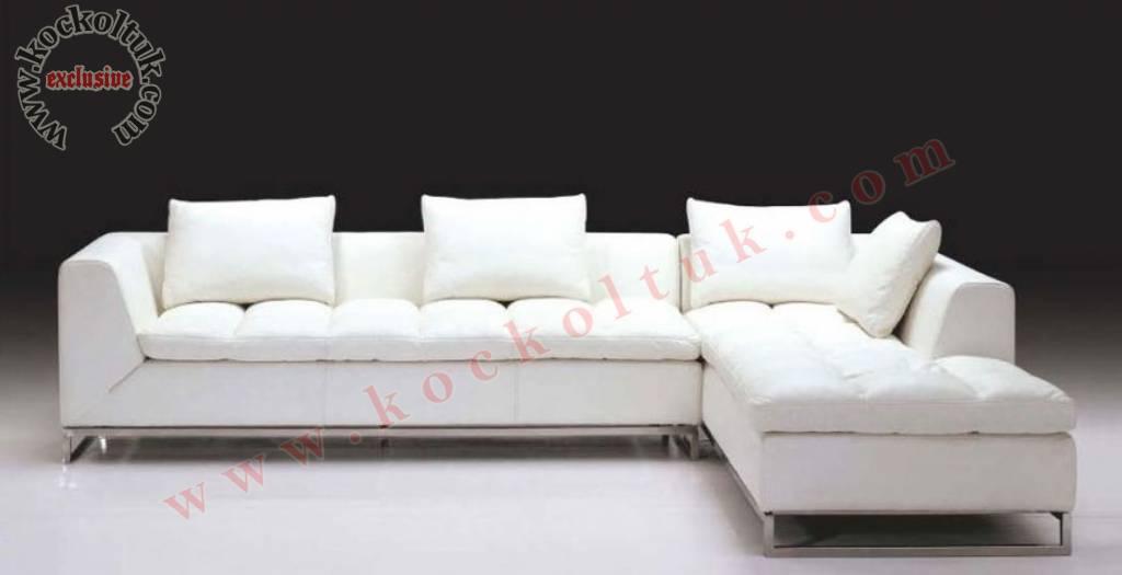 Beyaz Ketenkumaş Soft Modern Köşe Koltuk