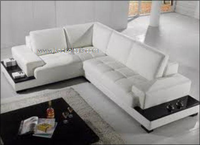 beyaz deri köşe koltuk takımı