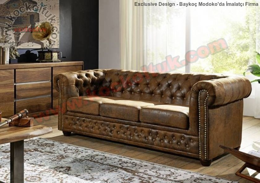 Antik Kahverengi Hakiki Deri Klasik Chester Koltuk