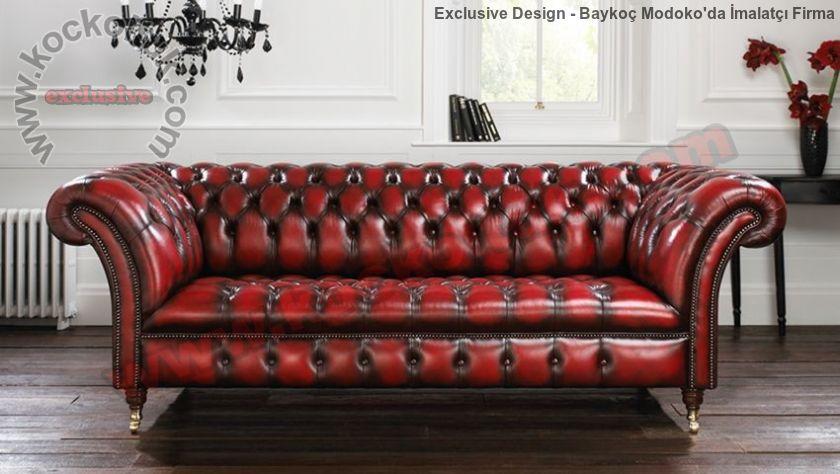 Antik Kırmızı Deri Klasik Chester Kanepe Üçlü Koltuk
