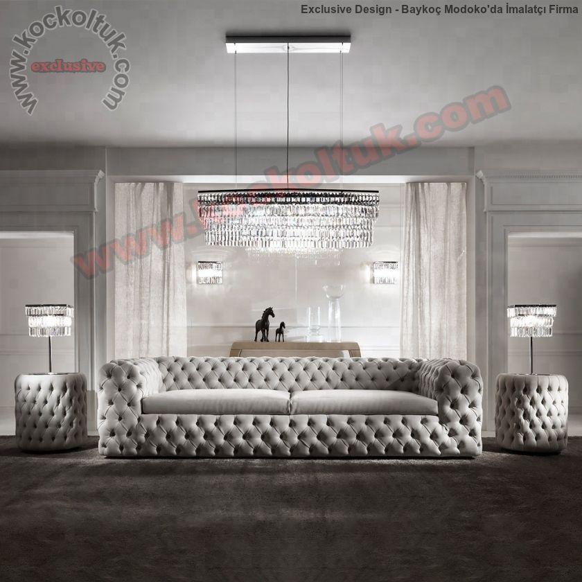 Beyaz Modern Chester Koltuk Takımı İtalyan Tasarım