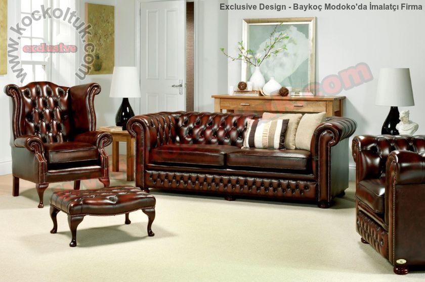 Deri Klasik İngiliz Chester Koltuk Takımı Özel Tasarım