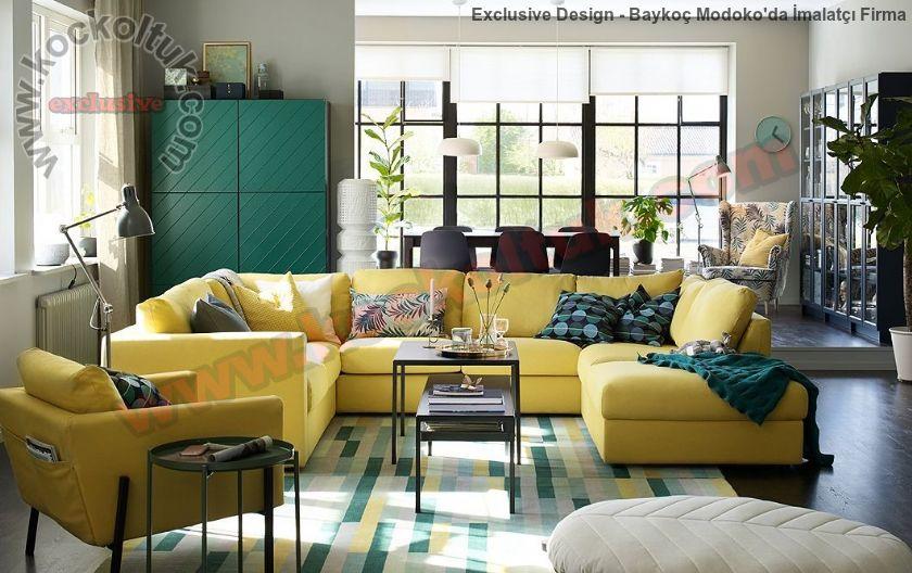 Hardal Sarısı Luxury U Köşe Koltuk Takımı