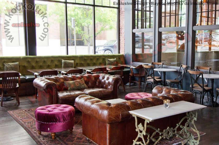 Lüks Cafe Restoran Sedir Koltuk Tasarımı Kapitoneli Chester