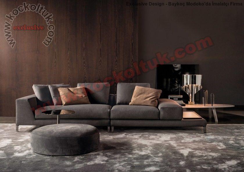 Luxury Modern Koltuk Takımı Yuvarlak Puflu Siyah Renkli Özel Ölçü Üretim