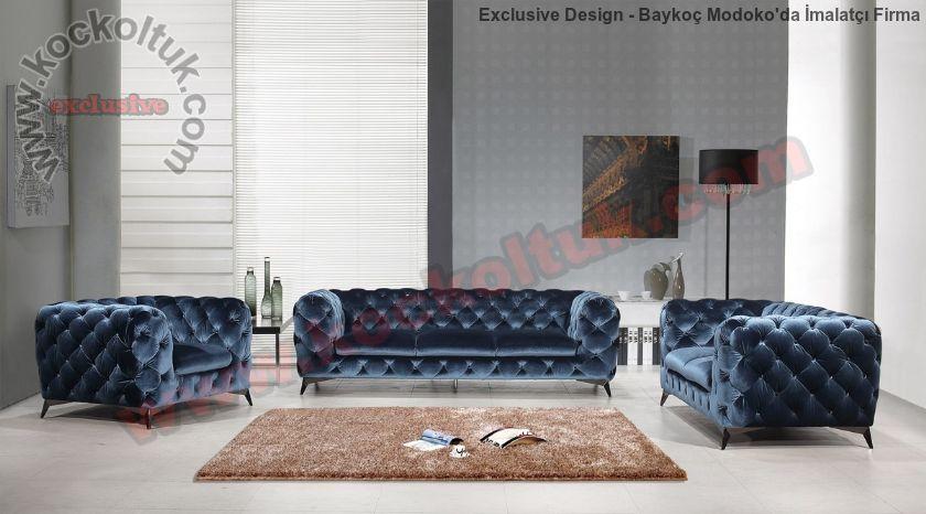 Modern Chester Koltuk Takımı İtalyan Model Mavi Kadife