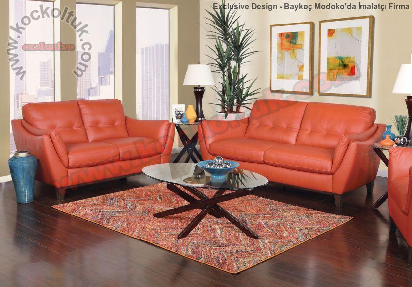 Modern Kiremit Rengi Deri Oturma Odası Koltuk Takımı