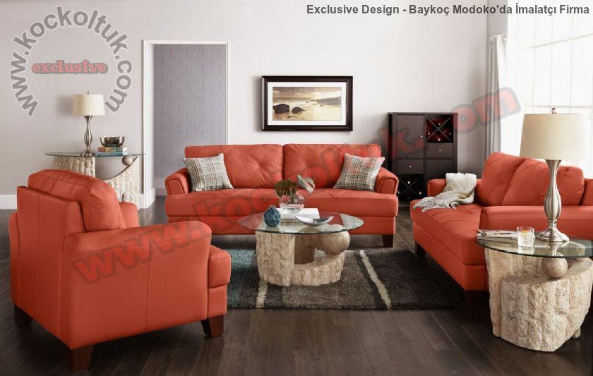 Modern Kiremit Rengi Oturma Grubu Lüks Oturma Odası