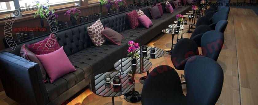 Modern Lüks Cafe Restoran Deri Chester Sedir Koltuk Modelleri