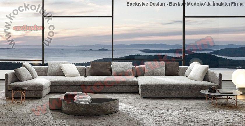 Modern Luxury Köşe Koltuk Takımı Lüks Modern Salon Tasarımı