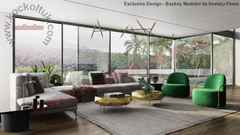 Modern Salon Tasarımları Büyük Ölçülü Koltuklar