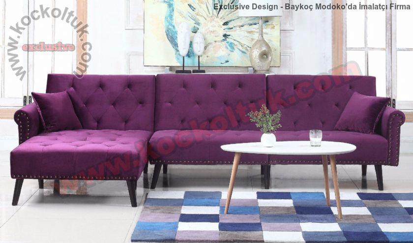 Mor Tasarım Köşe Kanepe Baklava Dilimli Luxury Exclusive