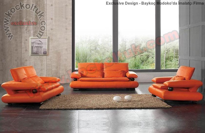 Oturma Grubu Modern Kiremit Rengi Koltuk Takımı