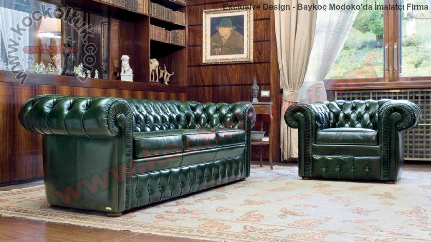 Parlak Koyu Yeşil Deri İngiliz Klasik Chester Koltuk Takımı