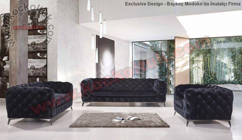 Siyah Modern Chester Koltuk Takımı İtalyan Tasarım