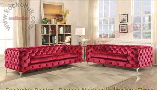 Kırmızı Kadife Modern Chester Koltuk Takımı İtalyan Tasarım
