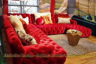 Kırmızı Kadife Özel Tasarım Köşe Koltuk