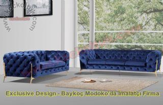 Mavi Kadife Modern Chester Koltuk Takımı İtalyan Tasarım