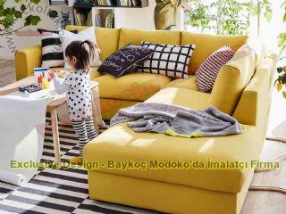 Modern Köşe Koltuk Takımı Hardal Sarısı Keten Kumaş