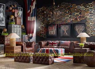Puflu Deri İngiliz Klasik Chester Koltuk Takımı