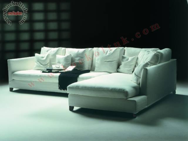 Beyaz L Köşe Koltuk Takımı Modern Luxury