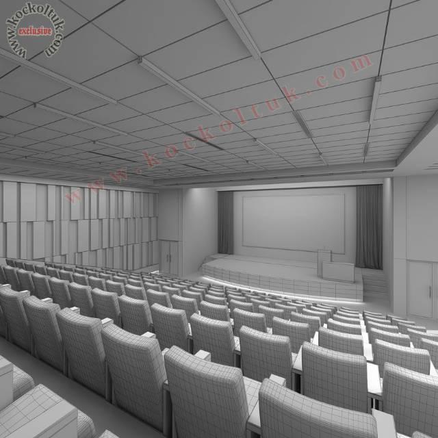 Konferans Salonu Koltuklar Sahne Ve Duvar Kaplamaları