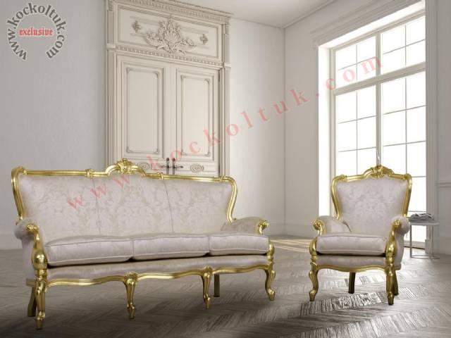 Lük Otel Klasik Koltuk Tasarımı Oymalı Altın Varaklı