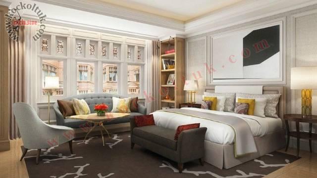 Lüks Otel Yatak Odası Koltuk Mobilya Tasarımı