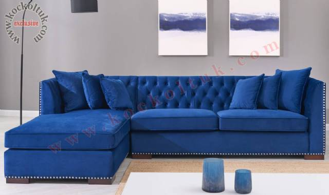 Mavi L Tasarım Chester Köşe Koltuk Takımı