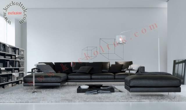 Siyah Nubuk Modern Lüks Köşe Koltuk Tasarımı