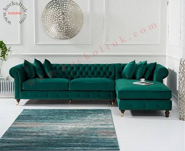Yeşil L Tasarım Chester Köşe Koltuk Takımı