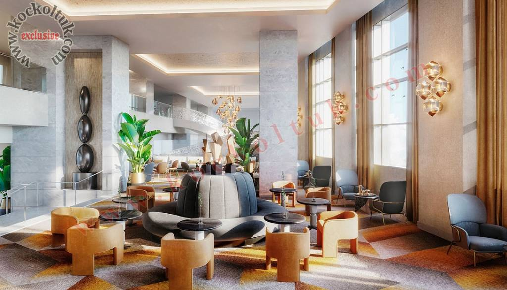 Lüks Otel Lobi Tasarımı Koltuk Sehpa Tasarımları