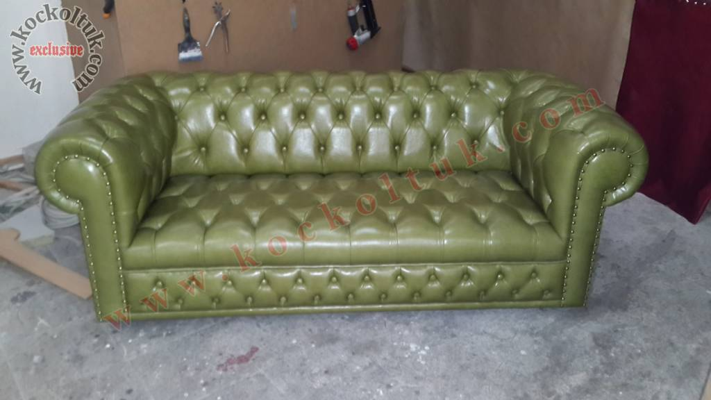 Yeşil Gerçek Deri Chester İkili Koltuk
