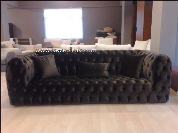 siyah italyan chester koltuk