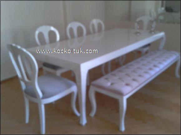 beyaz  cila yemek masası