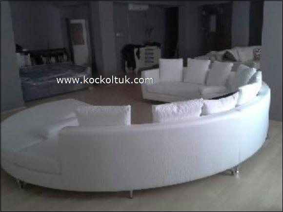 beyaz deri yuvarlak koltuk