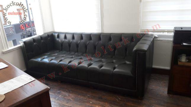 modern chester deri koltuk ofis otel lobi kanepe siyah