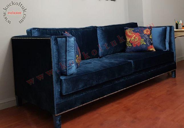 mavi üçlü kanepe avangart art deco luxury