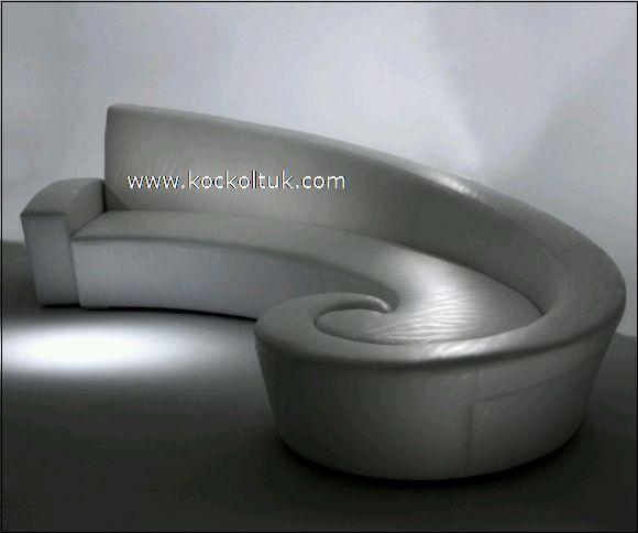 beyaz deri dekoratif oval köşe