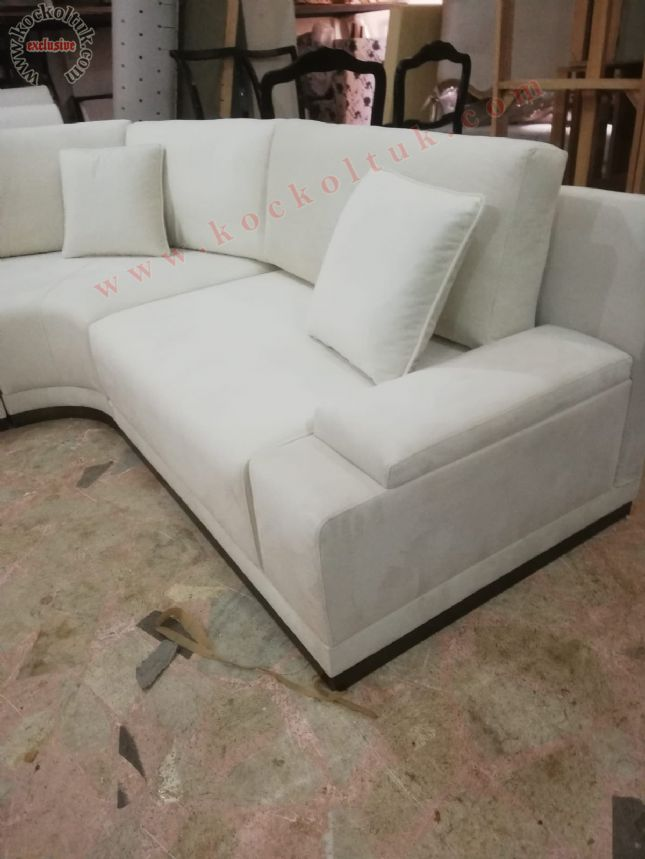 modern köşe koltuk kanepe özel ölçü tasarım beyaz kumaş