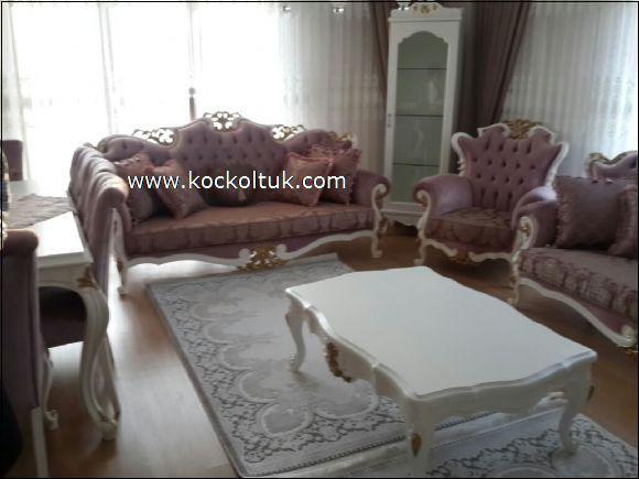 Penbe saten kumaş klasik koltuk takımı