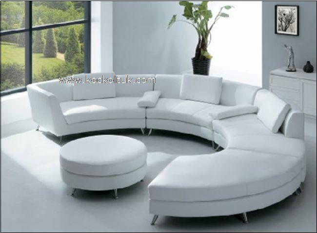 yuvarlak beyaz deri köşe koltuk takımı