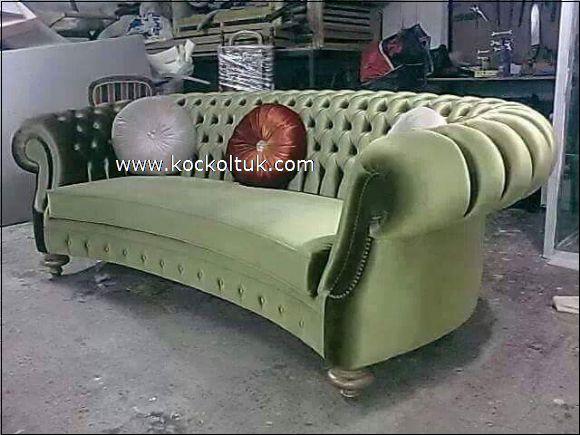 yeşil renk chester üçlü kltuk