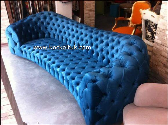 mavi deri chester üçlü koltuk
