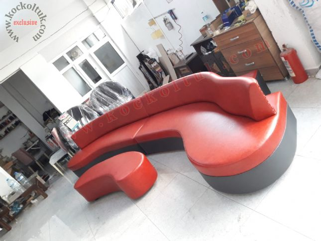 fasülye köşe koltuk modern kırmızı siyah deri ofis otel