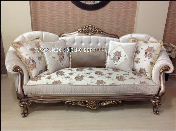 çiçekli kumaş klasik üçlü koltuk